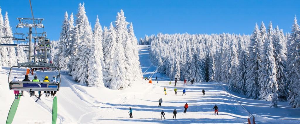 Ski resort Kopaonik, Serbia, lift, slope, people skiing