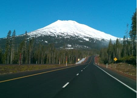 Mt Bachelor from car 450x321